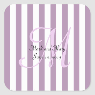 Striped Pick Any Color Wedding Personalized Square Sticker