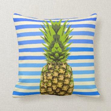 Beach Themed Striped Pineapple Pillow- Original Artwork Throw Pillow