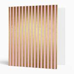 Striped- pink and golden stripes binder