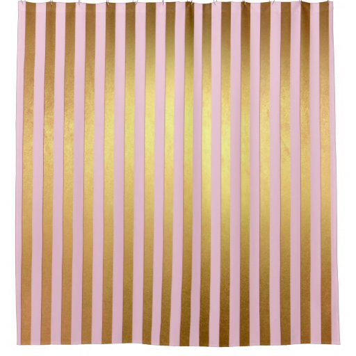 Striped Pink And Golden Stripes Shower Curtain Zazzle