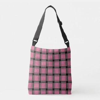 Striped Pink Basket Weave Crossbody Bag