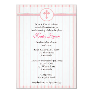 "Striped Pink Cross Invitation 5"" X 7"" Invitation Card"