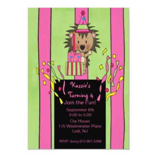 Striped Pink & Green Birthday  Hedgehog Invitation