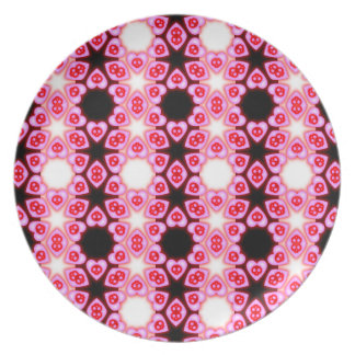 Striped Pink Hearts and Skulls decorative plate