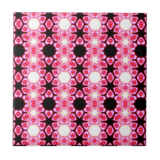 Striped Pink Hearts and Skulls tile