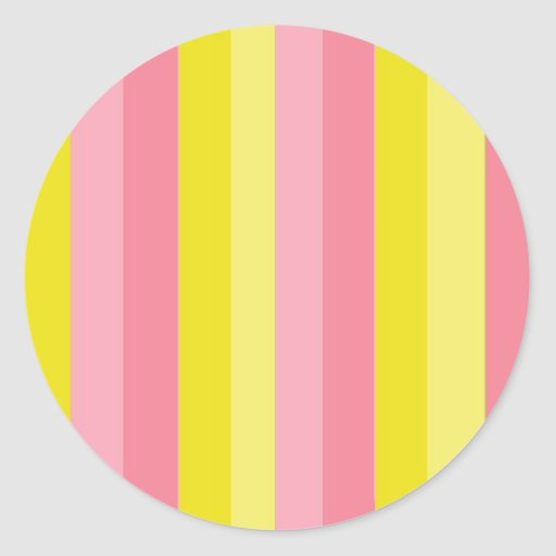 Striped Pink Lemonade Classic Round Sticker
