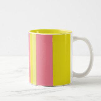 Striped Pink Lemonade Two-Tone Coffee Mug