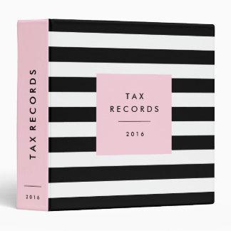 Striped Pink Tax Records Binder