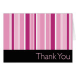 Striped Pink Thank You Stationery Note Card