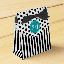 Striped Polka Dots Monogram | black white teal Favor Box