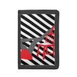 Striped Pop art. Red, black, white cool silhouette Tri-fold Wallets