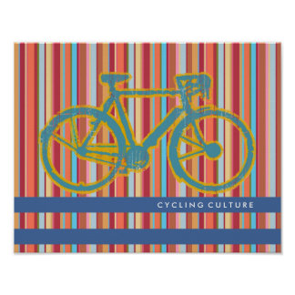 striped poster of a bicycle