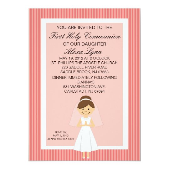 Striped Pretty First  Communion Girl Invitation