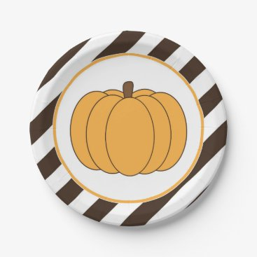 USA Themed Striped Pumpkin Party Fall Plates