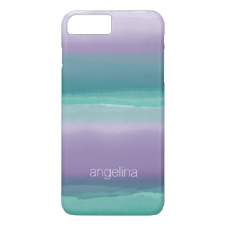 Striped Purple and Teal Watercolor Custom Name iPhone 7 Plus Case