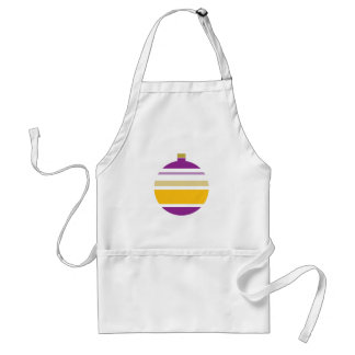 Striped Purple and Yellow Ornament Christmas Adult Apron