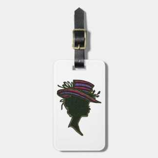 Striped Purple & Red Hat Cameo Bag Tag
