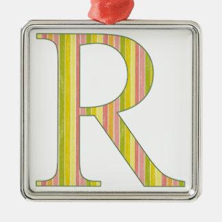 Striped R Metal Ornament