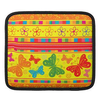 Striped Rainbow Butterflies Flowers And Hearts iPad Sleeve