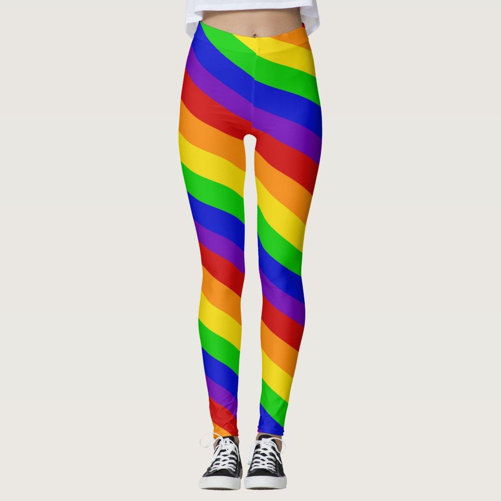 Striped Rainbow Colors Leggings PRIDE Colorful Fun