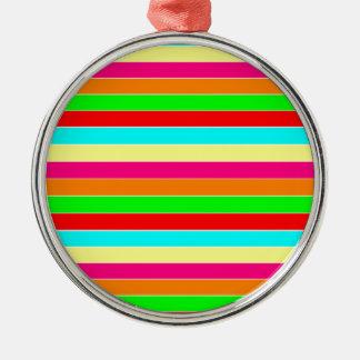 Striped Rainbow Metal Ornament
