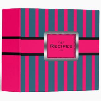 Striped Raspberry Recipes Binder