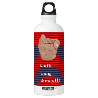 Striped Red and White Left Leg Back Water Bottle