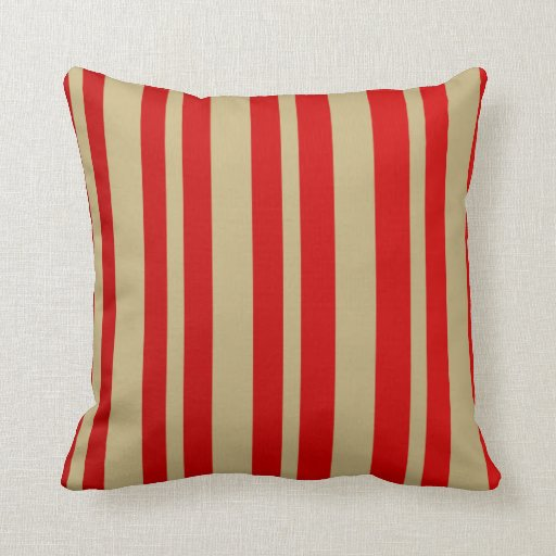 Red And Beige Throw Pillows : Striped: Red & Beige throw pillow Zazzle