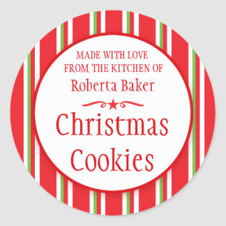 Striped red green cookie swap baking gift stickers