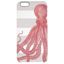 Striped Red Octopus Beach Nautical Modern Vintage Clear iPhone 6 Plus Case