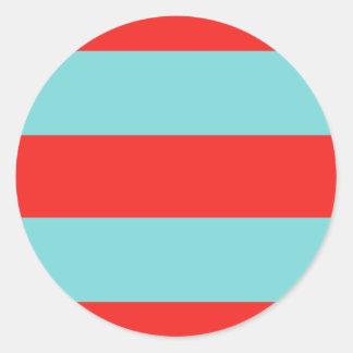 Striped (Red & Robbins Egg Blue) Classic Round Sticker