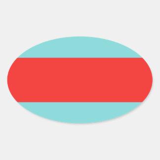 Striped (Red & Robbins Egg Blue) Oval Sticker