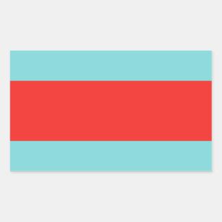 Striped (Red & Robbins Egg Blue) Rectangular Sticker