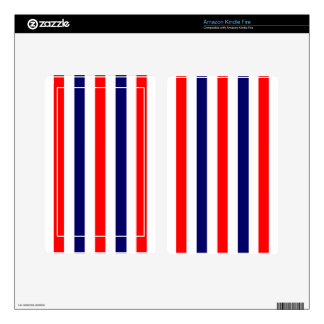 Striped Red White and Blue Stripes Skins For Kindle Fire