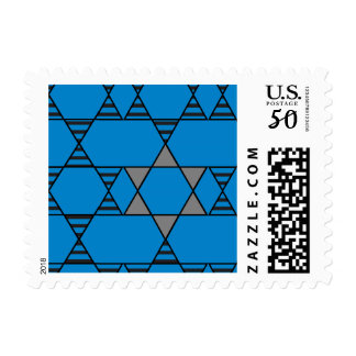Striped Repeating Jewish Stars Postage