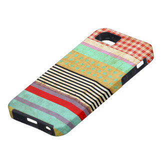 Striped Retro Grungy Red Gingham iPhone 5 Covers