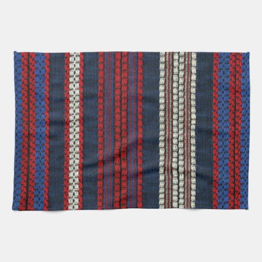 Red Kitchen Hand Towels: Striped Retro Red White And Blue Hippy Stripes Kitchen