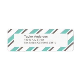 Striped Return Address Label - blue gray