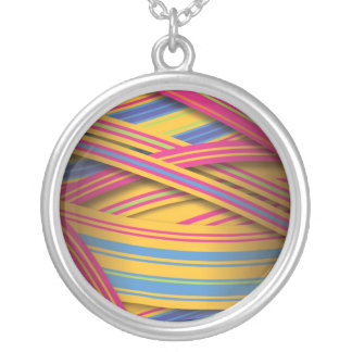 Striped ribbons in bright colors silver plated necklace