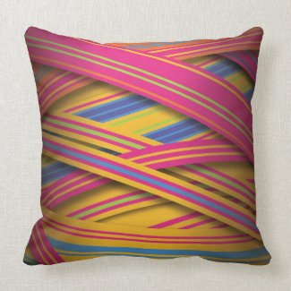 Striped ribbons in bright colors throw pillow
