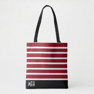 Striped RM Monogram Tote Bag