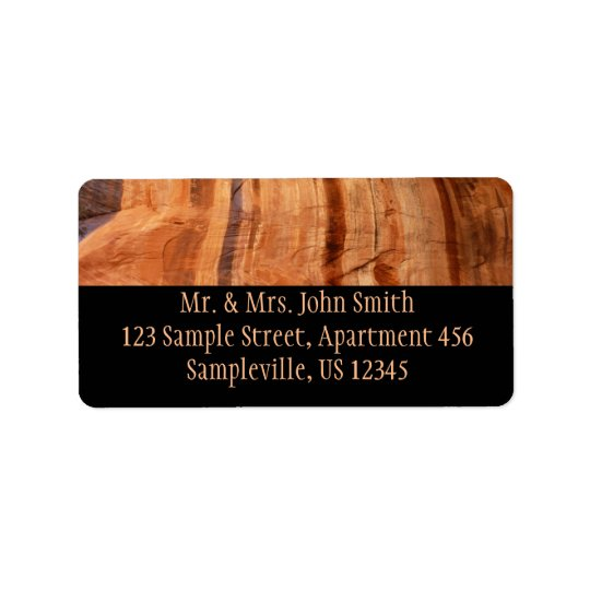 Striped Rock of Double Arch Alcove II Zion Park Label