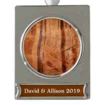 Striped Rock of Double Arch Alcove II Zion Park Silver Plated Banner Ornament