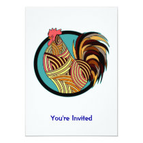 Striped Rooster Chicken Circle Card