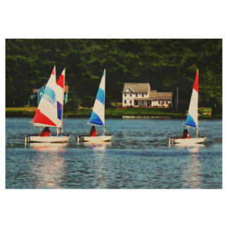 Striped Sails Wood Poster