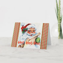 Striped Santa Claus Checking His List | Christmas Holiday Card