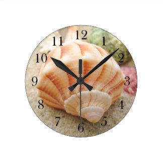 Striped Sea Shell Lightning Whelk Round Clock