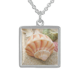 Striped Sea Shell Lightning Whelk Sterling Silver Necklace