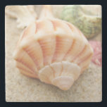 "Striped Sea Shell Lightning Whelk Stone Coaster<br><div class=""desc"">Beautiful close up photo of a colorful striped lightning whelk sea shell.</div>"