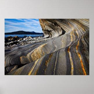 Striped Seaside Rock Poster